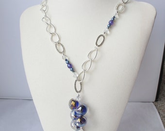 Blue Bubbles on Textured Silver Chain with Asymmetrical Accents