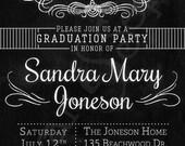 Chalkboard Graduation Party Invitation - Printable DIY Postcard 4.25x5.5 4x6 5x7 - Black White Modern Teen Grad Graduate Chalk School Colors