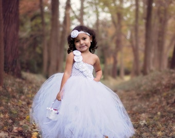 White Flower Girl Wedding Pearl Couture Tutu Dress