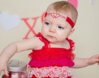 Red Velvet Rhinestone Heart Headband