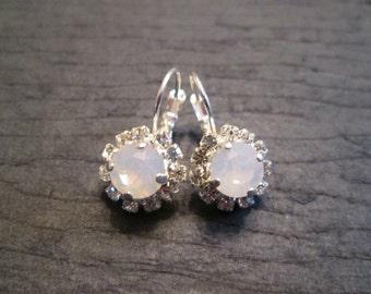 Swarovski Crystal Pink Opal Earrings/Bridesmaid Jewelry/Opal Earrings/Crystal Studs/Pink Crystal Earrings/Wedding Earrings/Bridesmaid Gift