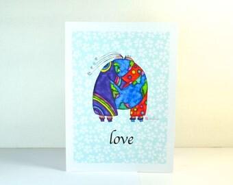 "Greeting Card ""Love"" / Wedding Bridal Engagement Anniversary / Birthday Baby Shower Couple Hugs World Christmas Card / Print at Home Artwork"