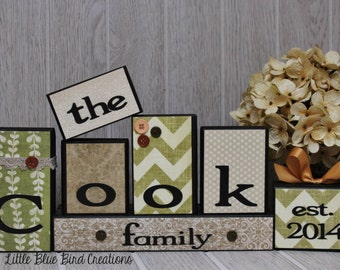 Personalized Family Name wood blocks - wood letters - wooden block sets - personalized christmas gift - personalized wood sign