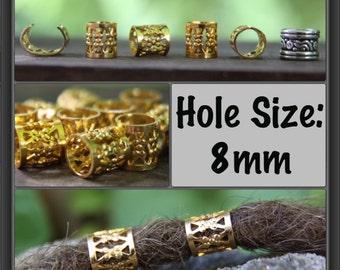 30 Gold Dreadlock Cuffs Beads - Dread Hair Beads 8mm Hole (5/16 Inch) + FREE Tibetan Silver Bead