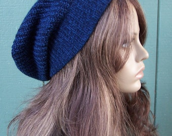 DARK BLUE beanie slouchy hat slouch beanie recycled sweater eco accessories handmade unisex lightweight ski hat upcycled