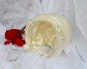 Cream Ivory Baby Bonnet Christening Felted Beaded Embroidered