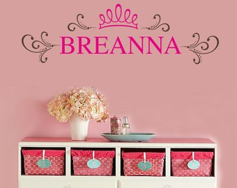 Shabby Princess Personalized Name Wall Decal -  Nursery Vinyl Wall Lettering Decals GIrls Room Custom Name