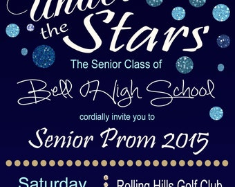 Under The Stars Invitation Graduation Invitation or Prom Party,  Personalized Graduation iInvitation DIY Printable