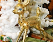 Kitschy Hong Kong Christmas Deer~ Chunky Gold Glitter~ Big! 1960s