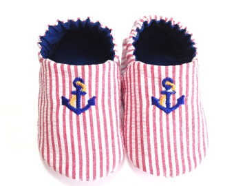 Nautical Baby Boy Shoes with Anchors, 0-6 mos. Baby Booties, Soft Sole Shoes, Crib Shoes, Sailor Shoes with Anchors, Nautical Baby Boy Gift