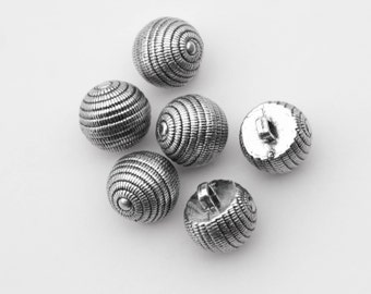 """16 Vintage 9/16"""" Silver Plastic Shank Buttons. Ball Shaped Spiral Design. Strong Plastic. Toggle Buttons. Sewing, Applique. Item 1552P"""