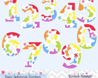 INSTANT DOWNLOAD, art party clipart, rainbow paint numbers, number clipart, teacher clip art, for personal and commercial use