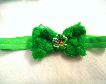 Frozen Elsa Lucky St Patrick's Shamrock Green Rosette Bow Stretchy Headband