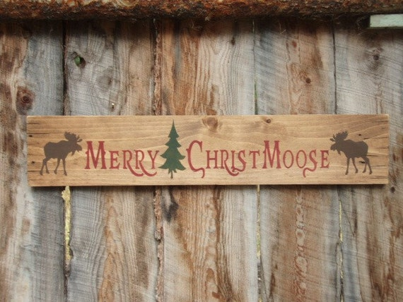 Rustic Home Decor Merry Christmoose Sign Moose Sign Decor: christmas moose home decor