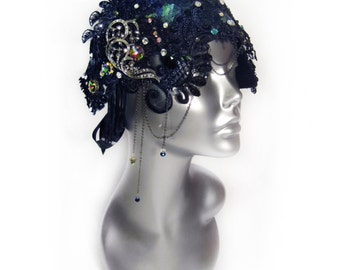 Couture Flapper Cloche Hat, 1920s Fashion Headpiece with Swarovski® crystals, Gatsby Headwear Womens Hat