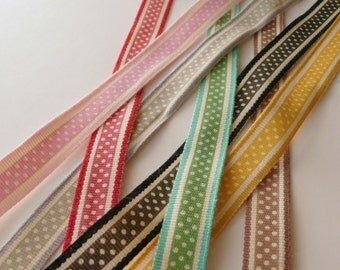 2 metres of Polka Dot Spot Ribbon 13mm wide - 7 colours available - black, grey, Red, mint, yellow, pink or beige with Cream - UK SELLER