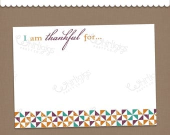 I'm Thankful For... Printable PDF cards DIY Thanksgiving Printable Gratitude Cards Thankful Prompt Activity Cards
