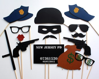 Police Officer Photo Booth Prop Collection. Personalized Cops and Robbers Photobooth Props. Wedding Party Props
