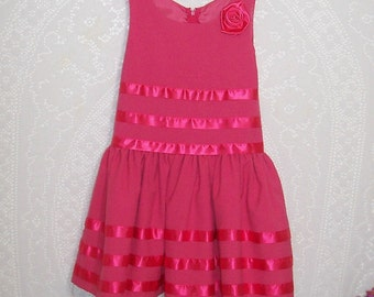Size 8 - Vintage girls Dress - from Bonnie Jean  - Rose Pink - fully lined