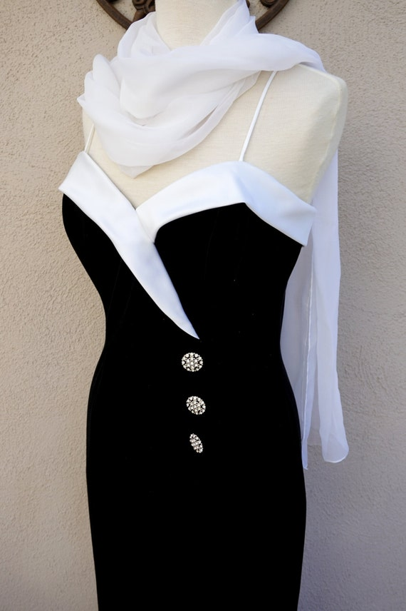 Vintage Black Stretch Velvet Gown with White Satin Shagetti Strap Trim, Rhinestone Buttons, and White Scarf // Formal Party Dress Size 11/12