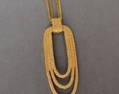 Gorgeous MONET ART DECO  Necklace 10k Gold Plated Double Strand 30 inches Retro Vintage