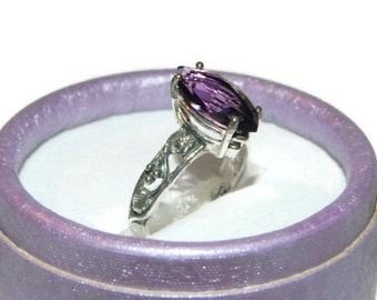 Amethyst Ring, Anniversary Ring, Unique Ring, Middle Finger Ring