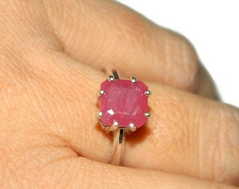 Rings On Sale, Natural Ruby Ring, Princess Cut Stone, Size 7 Ring, Ring With Square Ruby