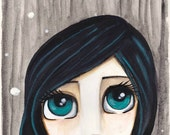 ZODIAC painting SCORPIO girl, big blue eyes + blue black hair shaped like a scorpion tail -  a thoughtful unique gift idea SHIPPING included
