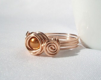 Rose Gold Swarovski Copper Pearl Ring, Wire Wrapped Ring, Pearl Rosegold Solitaire Ring, Pink Gold Filled 14kt Ring, Rosegold Jewelry
