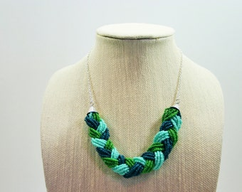 Statement Necklace - Greens & Blues - Braided Chunky Jewelry