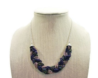 Purple Braided Statement Necklace - Silver Jewerly