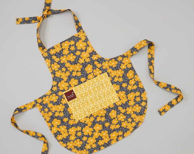 Apron with Pocket- Yellow Flower Apron - Organic Cotton Apron - Reversible Apron - Childrens Apron- Matching Apron - Kitchen Prop