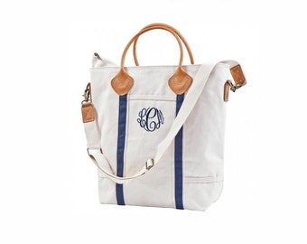 Flight  Bag - Navy Canvas Tote bag with leather handles and monogram