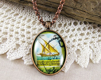 Navigation Ship Pendant, Vintage 1960s Postage Stamp, Colorful Statement Necklace, OOAK Nautical Jewelry, Antique Copper, Olive Green & Blue