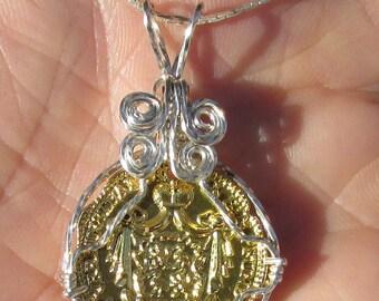 Replica gold Coin, wirewrapped pendant