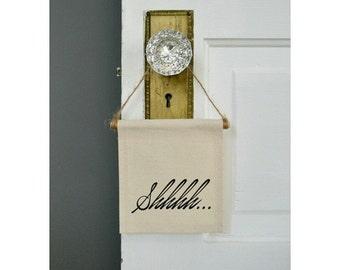 """Handmade """"Shhhh"""" Mini Banner - Quiet Doorknob Hanging - Quiet Wall Hanging - Nursery Decor - Mini Banner"""