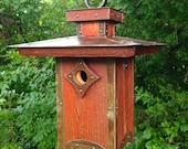 Reserved for Jim: The Penthouse, Arts and Crafts/Mission Style Birdhouse From Reclaimed Wood and Metal--Made to Order
