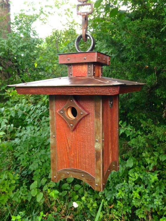 The Penthouse: Arts and Crafts/Mission Style Birdhouse From Reclaimed Barn Wood and Metal Roofing--Made to Order