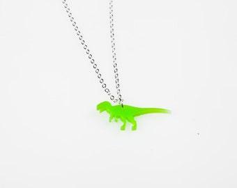 Tiny T-Rex Dinosaur Necklace. Dinosaur Charm. Dinosaur Jewellery. Dinosaur Pendant. Laser Cut Acrylic/Perspex. Alternative Bridesmaid Gift.