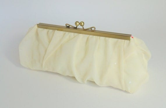Vintage Style Yellow Shimmer Clutch - Evening Bag - Bridesmaid Purse - Includes Crossbody Chain - Ready to Ship