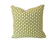 Betwixt Green and Ivory Pillow Cover with Ivory Piping