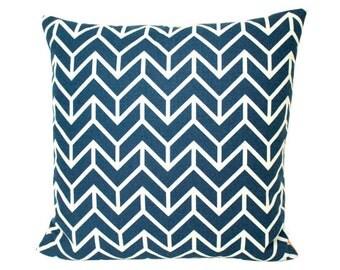 Navy Blue Chevron Print Pillow Cover- Schumacher