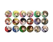 Axis Powers Hetalia Pinback Button Set - Germany, Italy, Japan, America, England, Prussia, Russia, France, Canada, & More -- APH Buttons