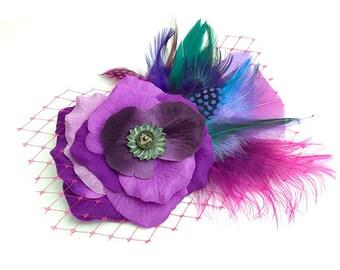 Purple Rose feather Bridal / Prom hair  accessory, Romantic Rose Fascinator Antique Button original unique hair clip