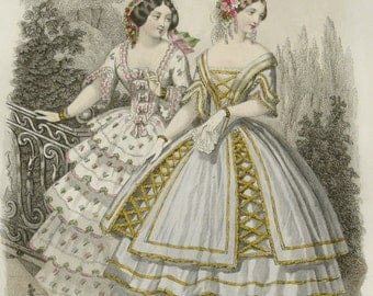 1851 Antique FASHION lithograph: Two Ladies in a romantic garden. Ancient clothing. Jane Eyre era. 167 years old gorgeous lithograph
