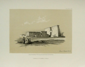 1856 TEMPLE of DAKKA, NUBIA. Egypt. Antique duotone lithograph after David Roberts. 163 years old print