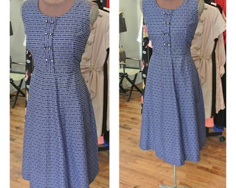 1960s Blue Striped Day Dress Vintage Polka Dot Midi Dress Cotton Fit and Flare Garden Party Dress with Jeweled Buttons Shirt Dress