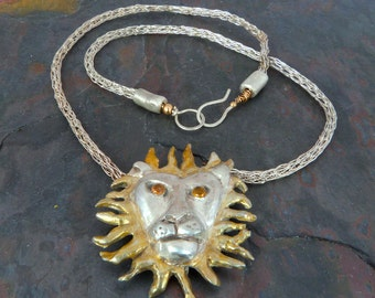 Fine Silver Lion Pendant Necklace w 22K Gold Overlay on Fine Silver Viking Knit Chain, Handmade
