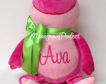 Ava - ALREADY PERSONALIZED Pink Frog Stuffed Animal