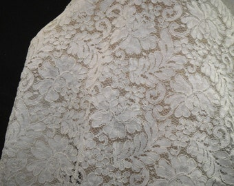 Lace Fabric, Light Ivory Alencon Bridal Lace, Ivory Lace, Lace Fabric, Light Ivory Material, Bridal Lace, Lace Material, Lingerie Supply